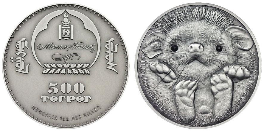 500 Tugrik 2012 Mongolia (Long-eared Hedgehog) Erizo de orejas largas 9406337053_f086c9e26b_o
