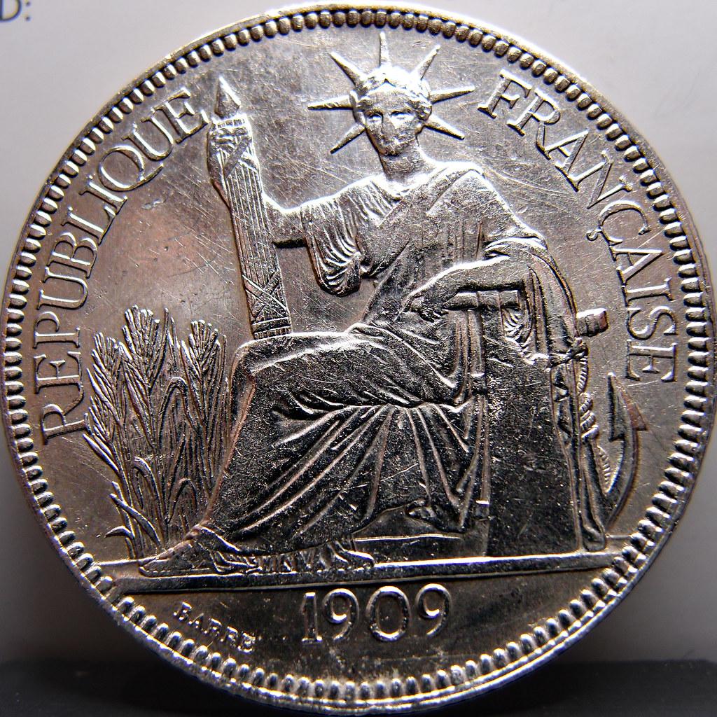 Piastra de Comercio. 1909. Indochina Francesa 10490859044_e8808b2af4_b