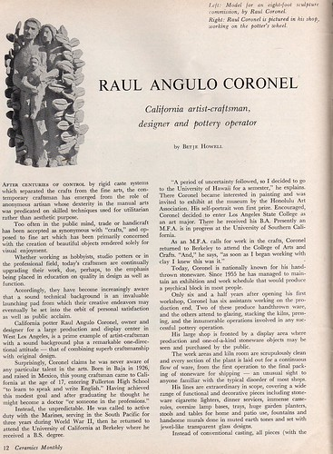 Ceramics Monthly May 65 - Raul Coronel 1