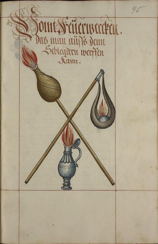 [iconographie] 16e Ms. Codex 109 - Feuer Buech Grenades, projectiles, fireworks... 8216229507_c28a6ca60d_c