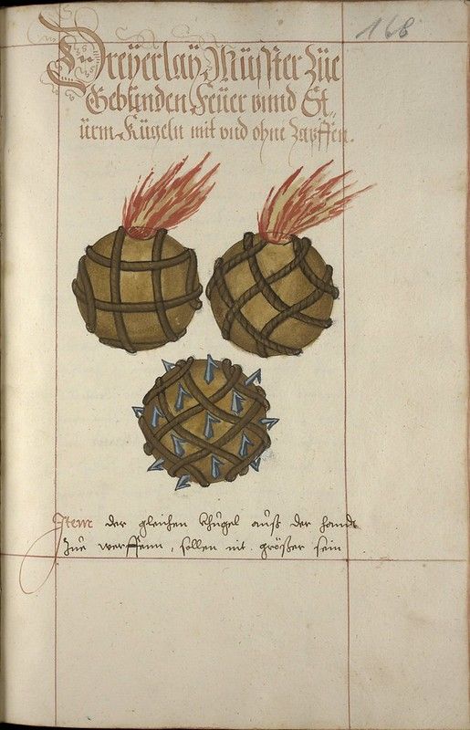 [iconographie] 16e Ms. Codex 109 - Feuer Buech Grenades, projectiles, fireworks... 8217309574_0a95669cb7_c