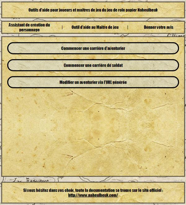 [site web] Création de personnage en ligne Accueil