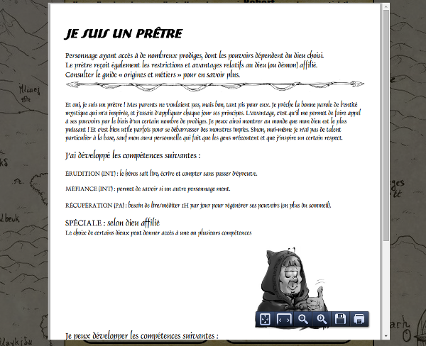 [site web] Création de personnage en ligne Aide