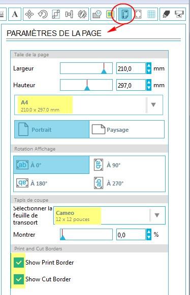 01 - Comment faire un print & cut ? ParametresPage