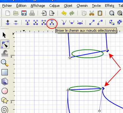 Comment relier 2 points dans la vectorisation sous Inkscape BriserChemin