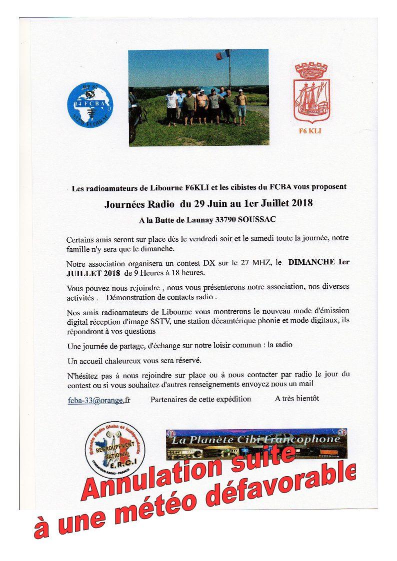 F6KLI - [Annulée] Journées Radio F6KLI & FCBA33 à la Butte de Launay 33790 Soussac (29/06 / 01/07/2018) Annulation