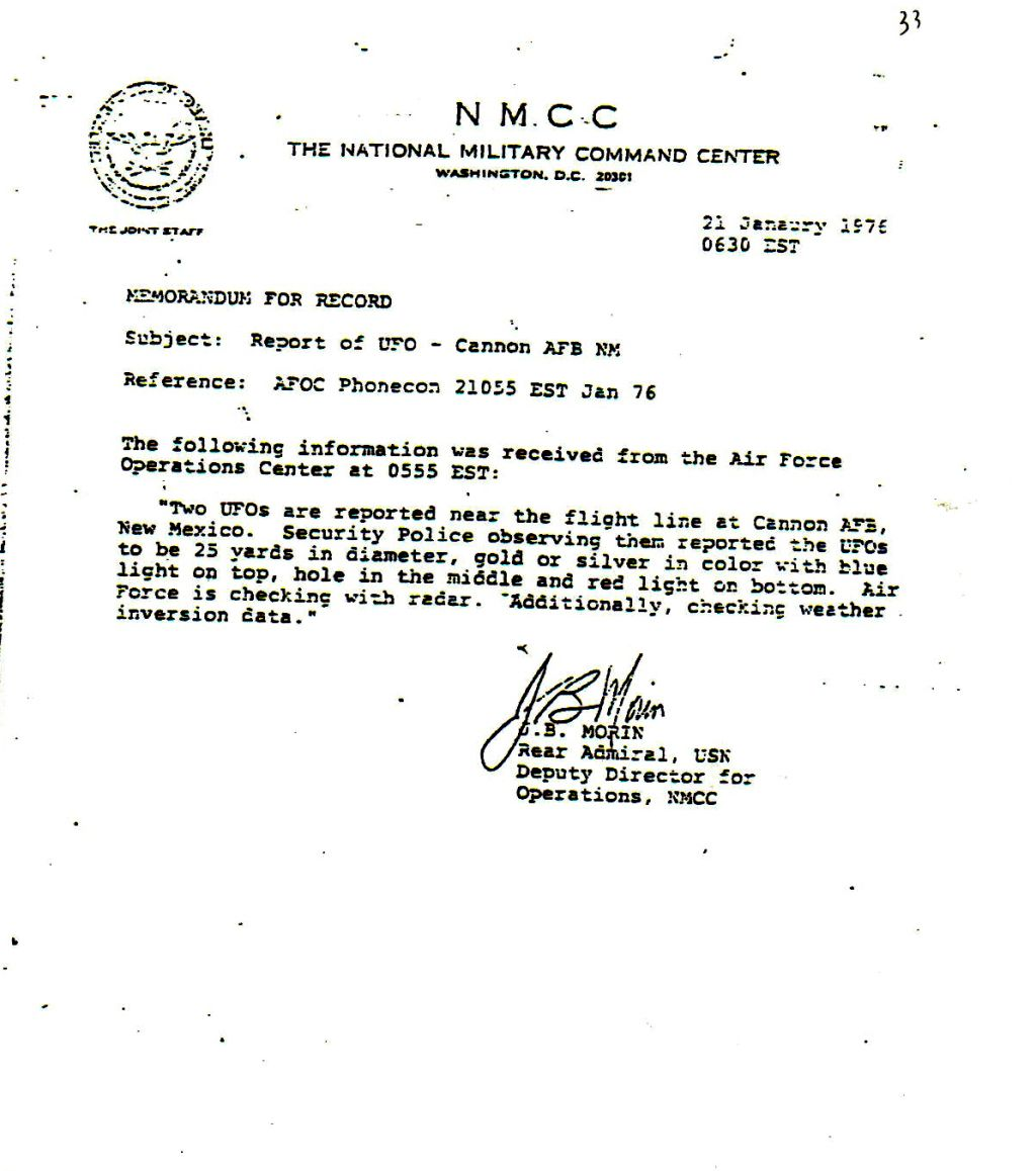 Cannon Air Force Base UFO Flap - January, 1976. Gg5065c886