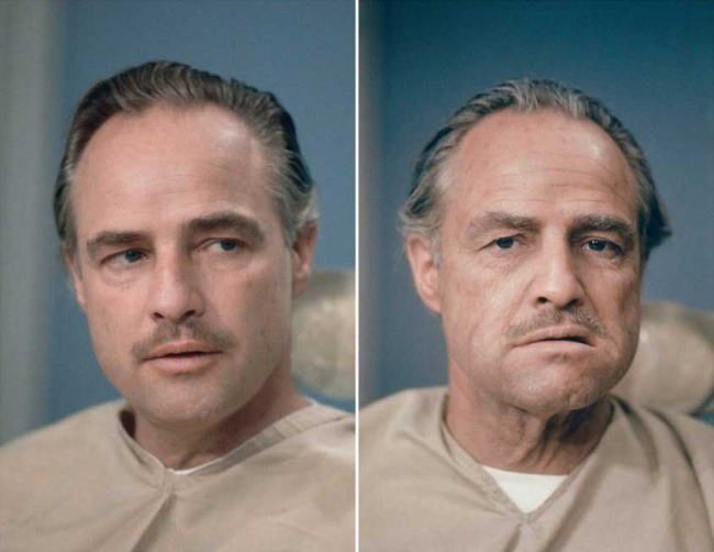 23 фотографии, в которые трудно поверить 7558310-R3L8T8D-650-Marlon-Brando-before-and-after-getting-his-make-up-done-to-be-Don-Vito-Corleone-in-The-Godfather