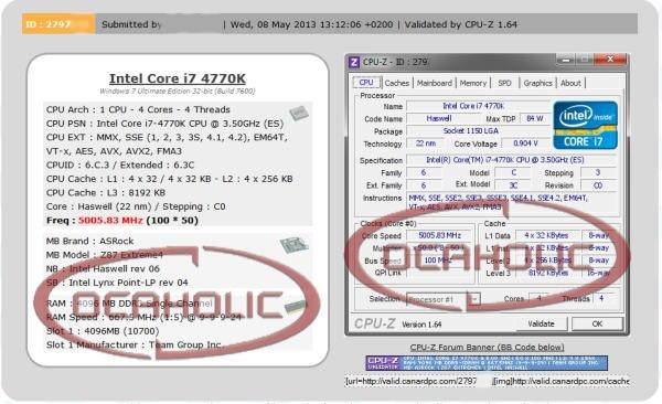 Intel COre i7 4770K 5GHz
