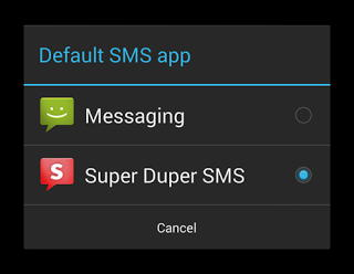 android 4.4 sms default