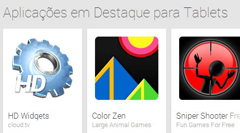 Aplicações para tablets Google Play