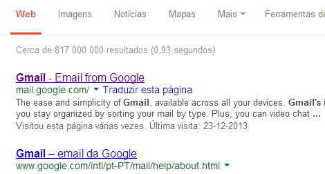 gmail search result