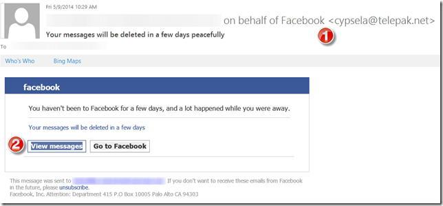 email falso do facebook