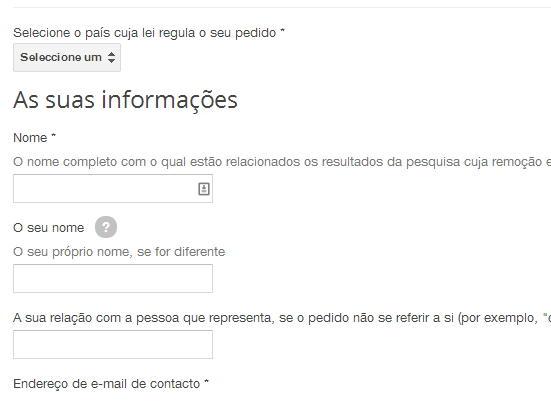 google remover dados pessoais