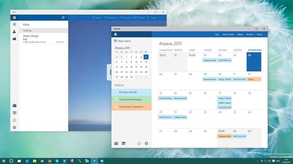 windows 10 email e calendário
