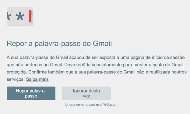 alerta de password chrome