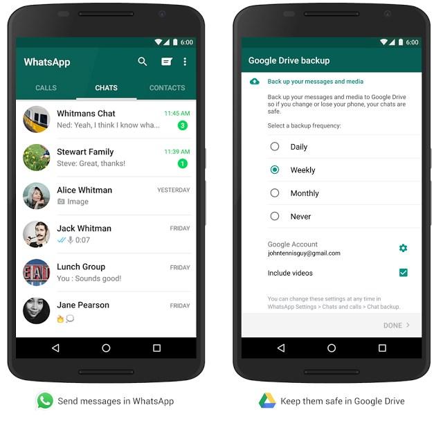 google drive backup whatsapp