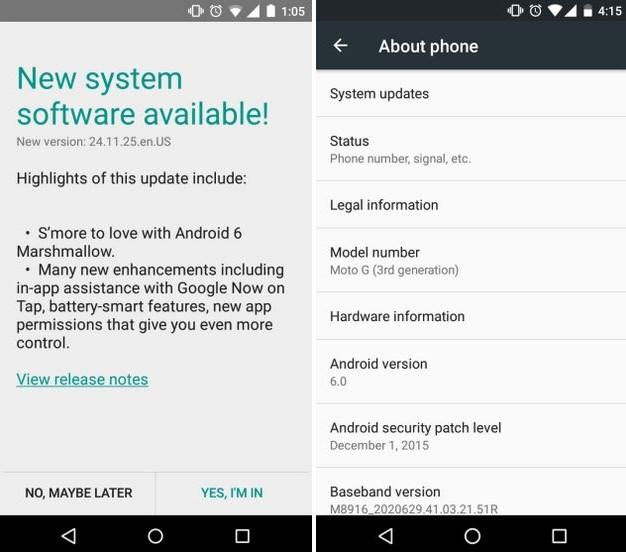 moto g android atualização 2015