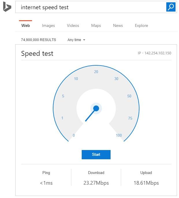 bing teste velocidade da internet