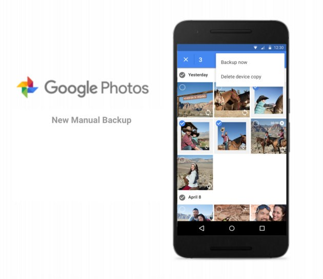 Funcionalidade de Backup manual no Google Fotos
