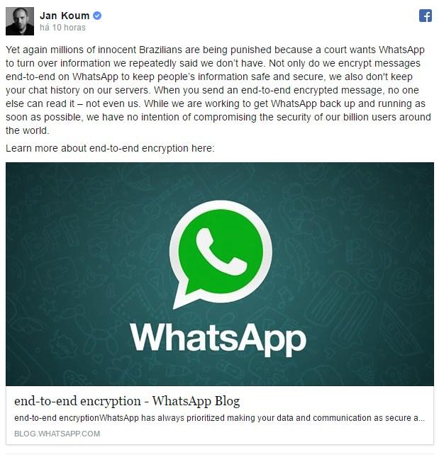 mensagem do CEO do WhatsApp