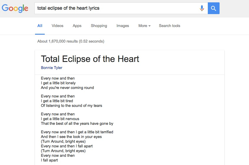 Google e as letras das musicas