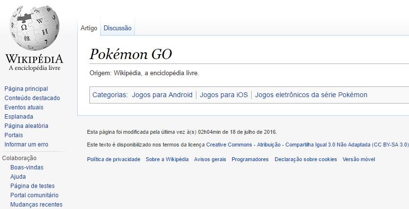 Exemplo do bloqueio na Wikipédia