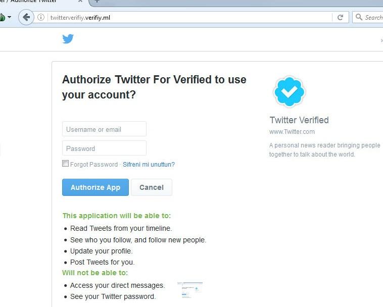 Falsa aplicação do Twitter