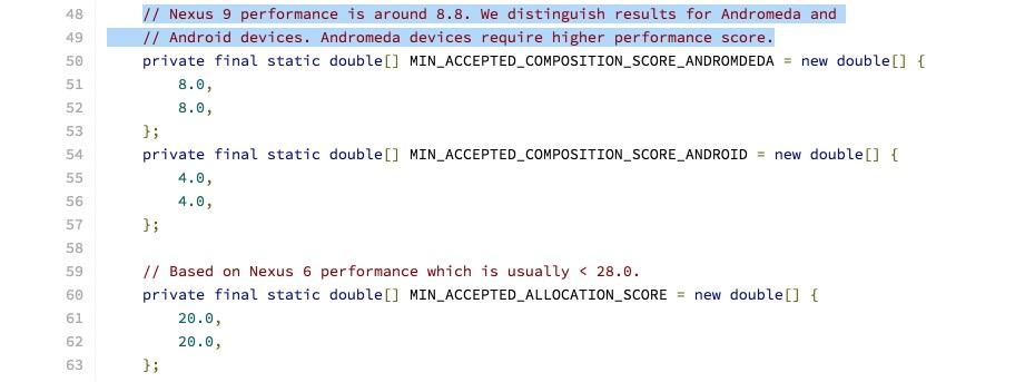 exemplo de código com referência ao andromeda