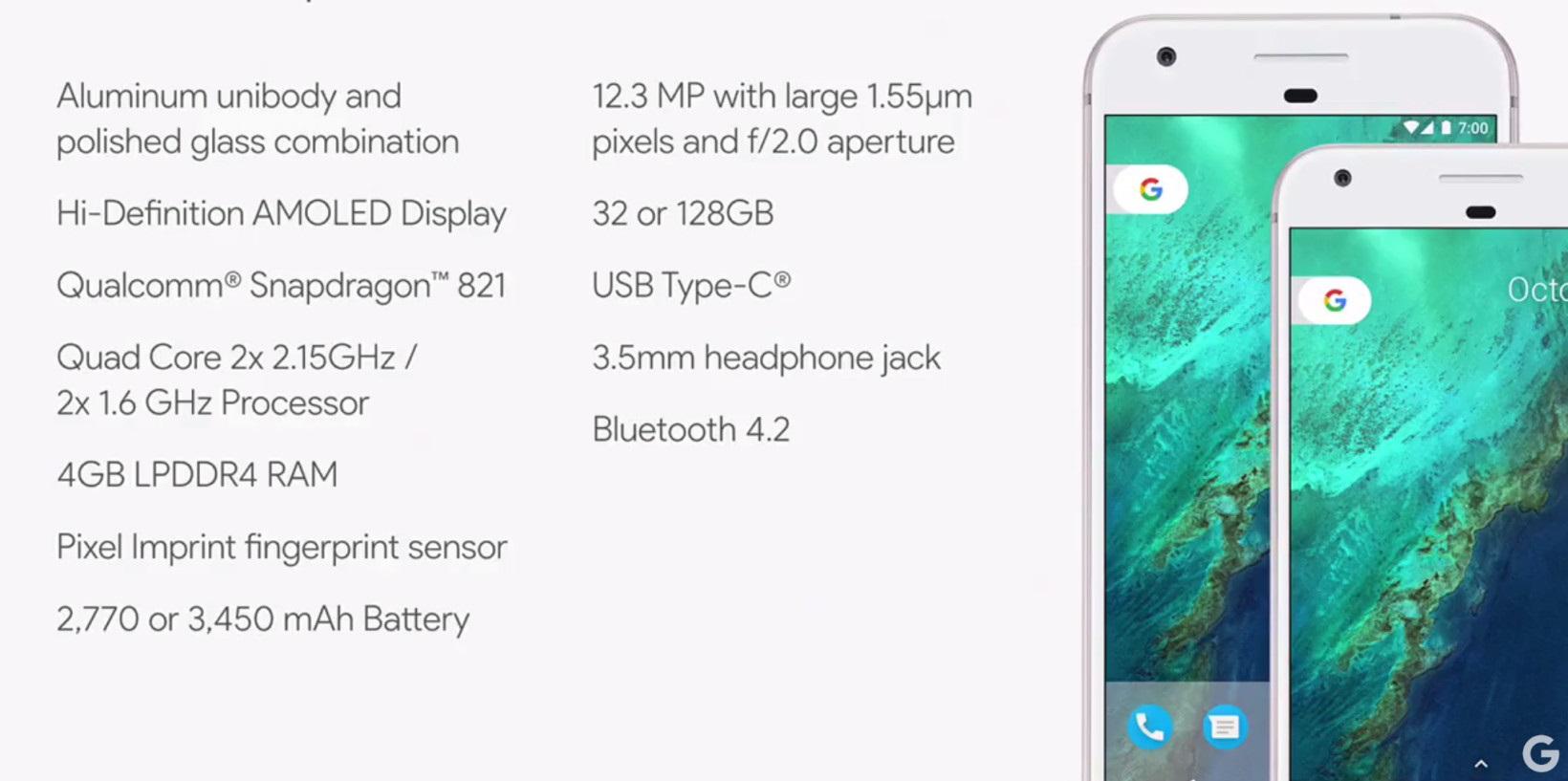 características do google pixel