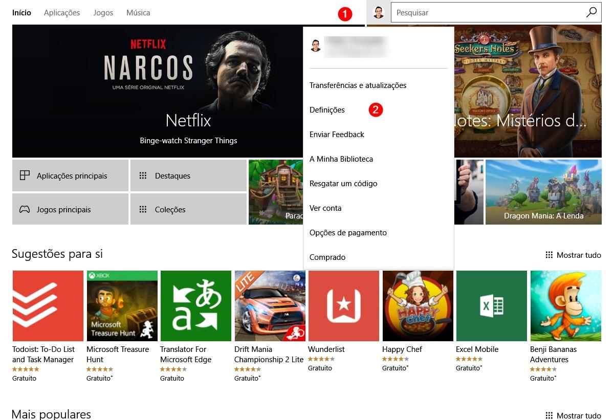 entrar nas definições da Windows Store