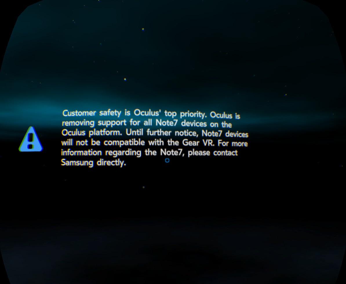 mensagem de erro no oculus