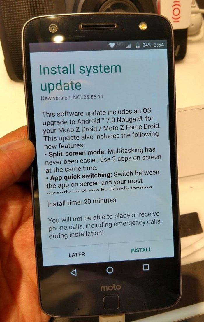 atualização do android nougat no moto z