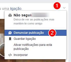 reportar no facebook