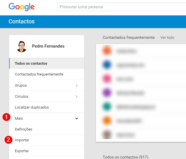 menu do google contacts