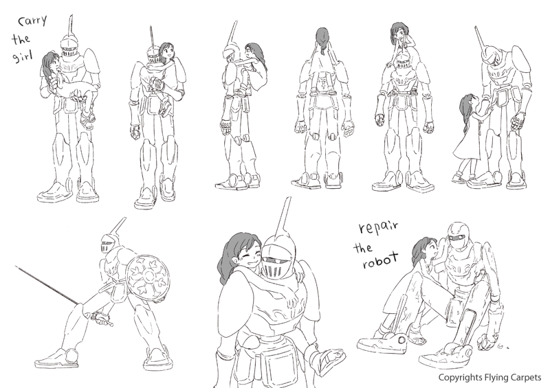 Pelase more and more similar the gameplay characters to the illustration. Robot-action-1-small