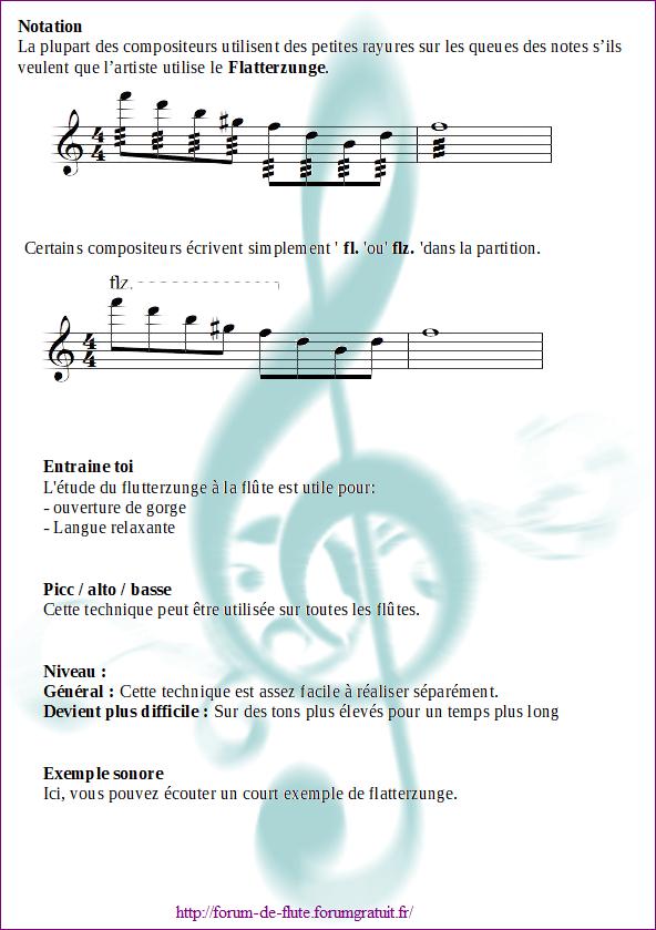 3) FLUTTER TONGUE / FLATTERZUNGE (Battement de langue) Flatterzunge