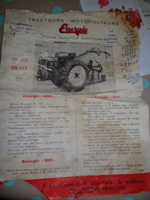 Motoculteur Energic 207 + remorque + (charue) (dans son jus) 19.126