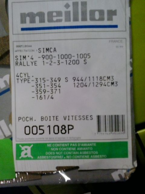 pochette de joints  de boîte 22.85
