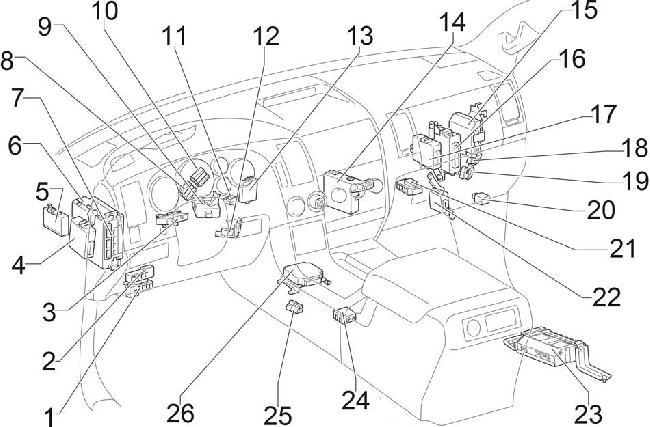 Схема предохранителей и реле, Тойота Тундра, Секвоя. T20364_knigaproavtoru01205847