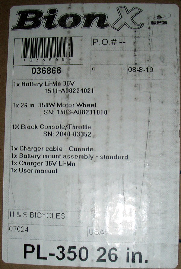 Vendido kit Bionx excepto motor 34e921ce9eb8b6af6fdf115f641ab99bo