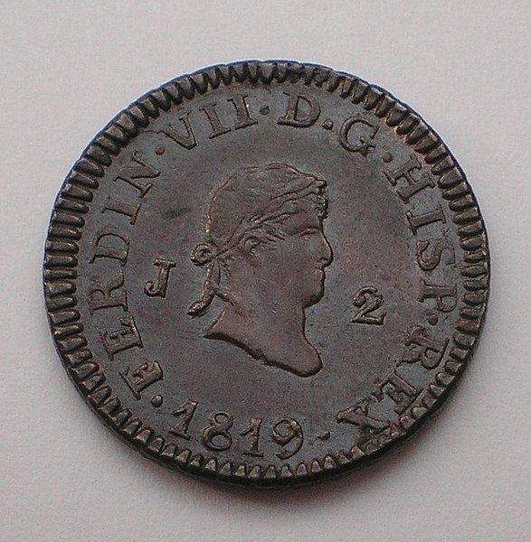 2 Maravedís de Fernando VII (Jubia/Xuvia, 1819) Sin circular [WM n° 7557] 55d93574b5137d46acd4a2876a7433d1o
