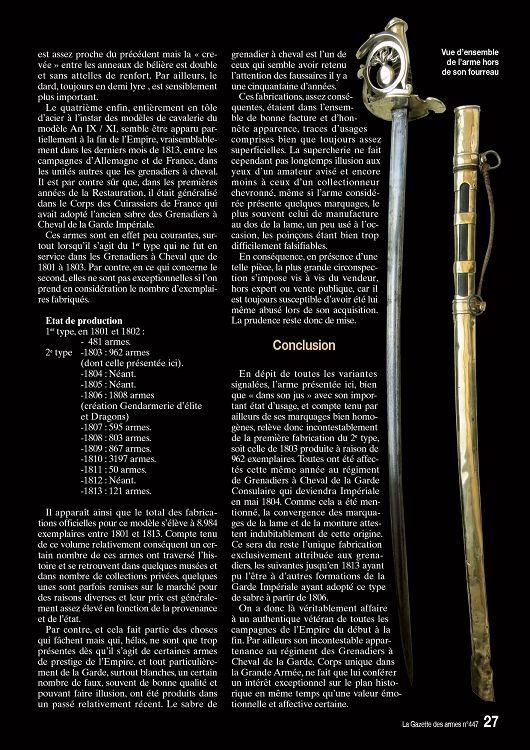 Sabre Grenadier a Cheval Garde Imperiale  - Page 3 13825-GazettedesArmes-447-Page-027