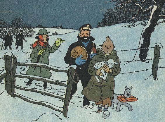 """Le Noël de Tintin, en un temps où la ferveur religieuse était plus importante que la ferveur """"acheteuse"""". Noel"""