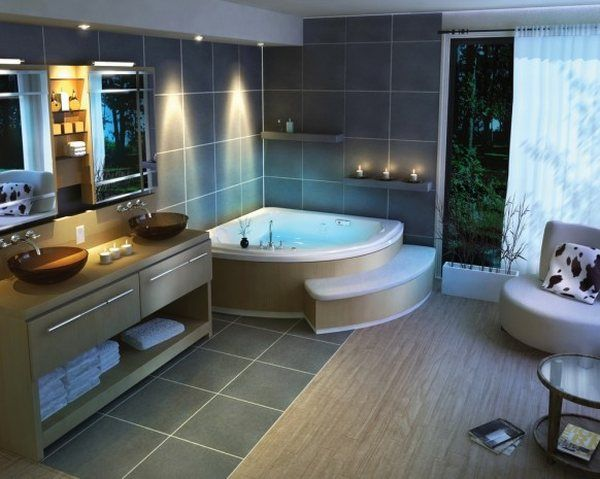 Ванная комната  Traditional-beautiful-bathroom-design-corner-bath-tub