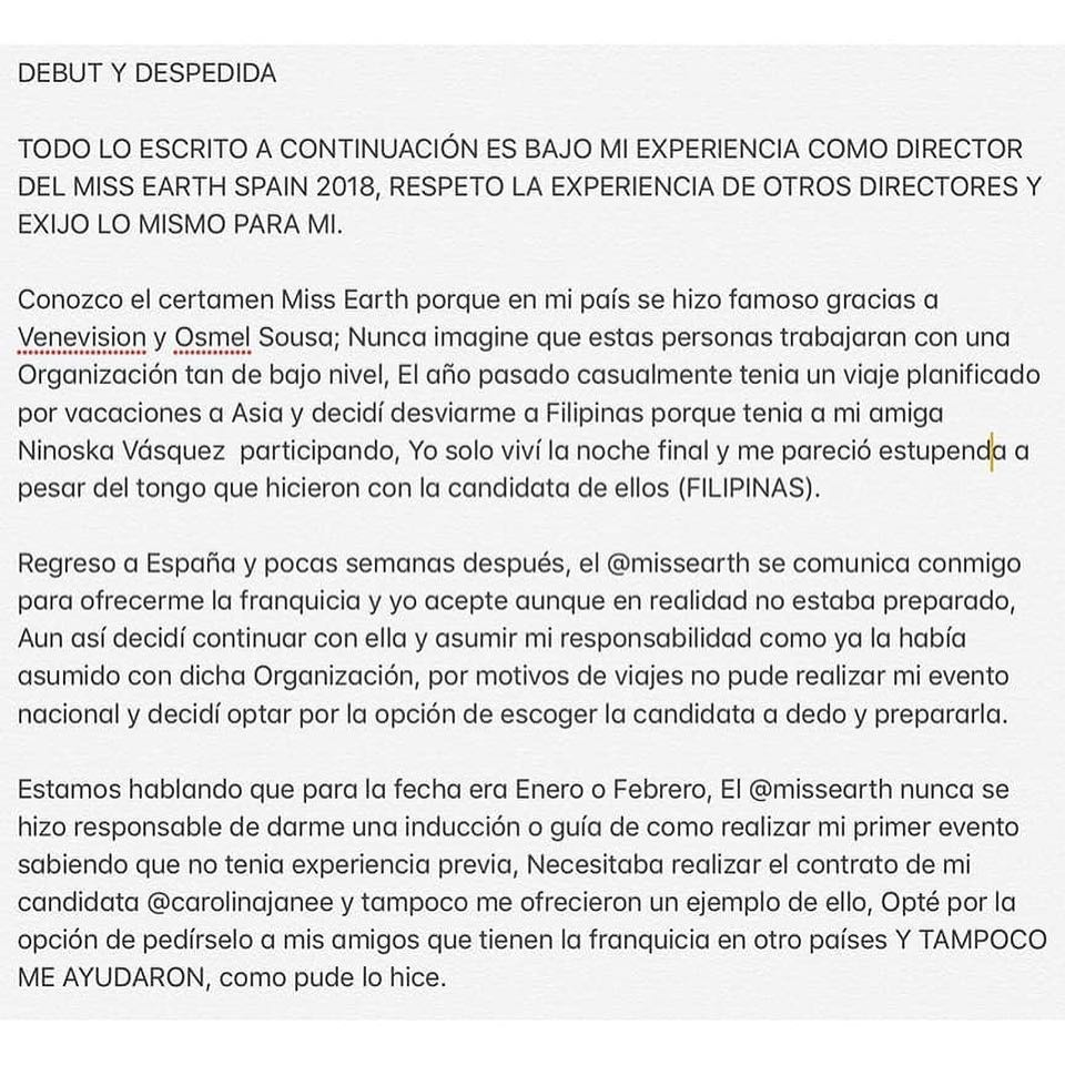 ATENCIÓN: España deja la franquicia de Miss Earth y da unas explosivas declaraciones en voz de su director: @marcelcastellano  Mqek43fw