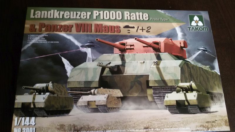 Takom Landkreuzer P-1000 Ratte + 2x Panzer VIII Maus in 1/144 46w8n6vb