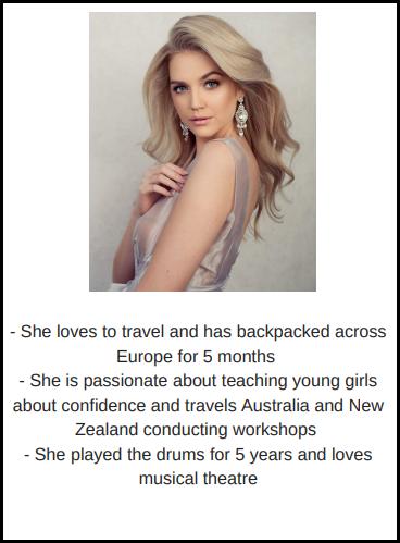 candidatas a miss world australia 2018. final: 31 agosto. 3bkn5enw