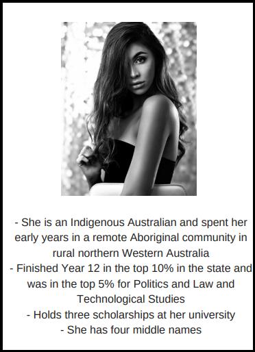 candidatas a miss world australia 2018. final: 31 agosto. Ichwycja