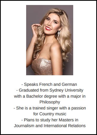 candidatas a miss world australia 2018. final: 31 agosto. - Página 2 Zde58z55